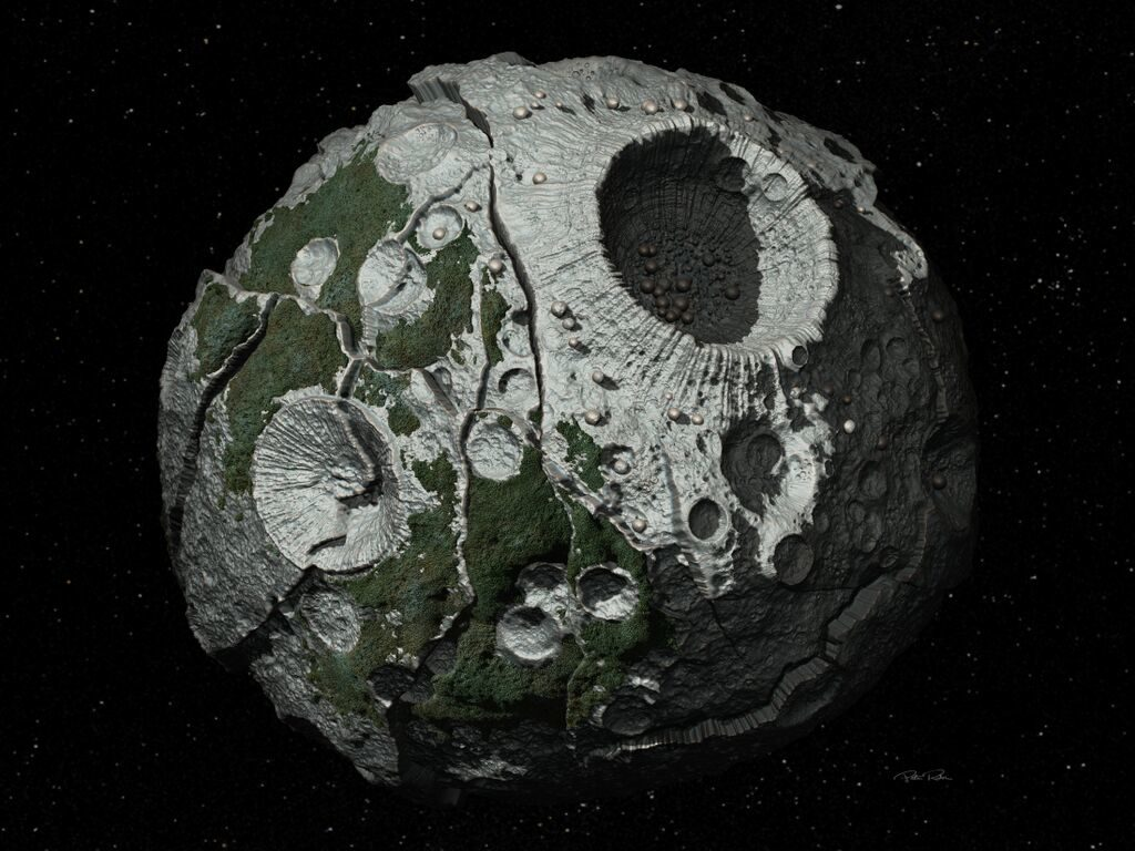 This artist's conception shows a close-up of the Psyche asteroid. Image Credit: Peter Rubin