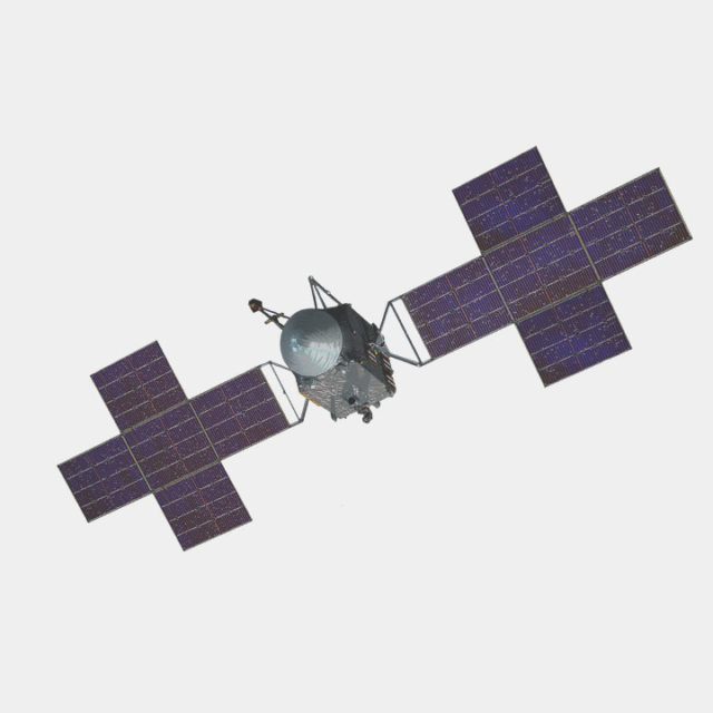 "Image of the psyche spacecraft. Shows the plus shaped panels attached to the ""bus"" or body of the craft."
