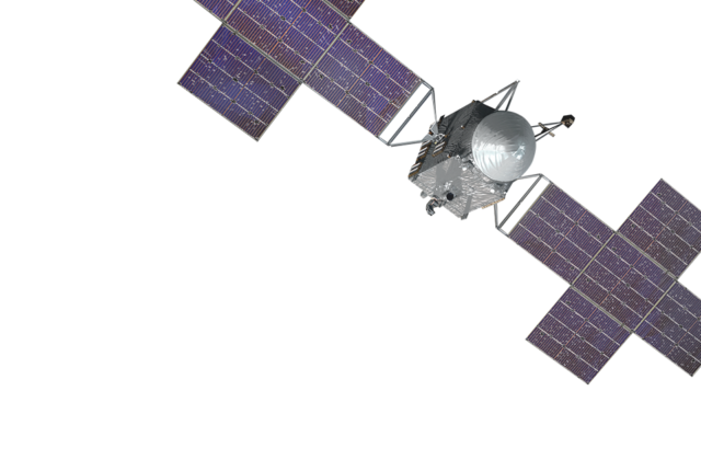 Image of the psyche spacecraft. Shows the plus shaped panels attached to the