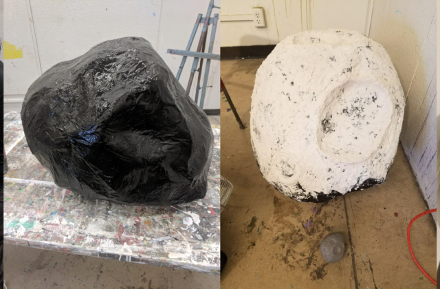 This series of four images shows the making of the papier mache model of the Psyche asteroid, from generic, lumpy shape to finished, detailed asteroid model.
