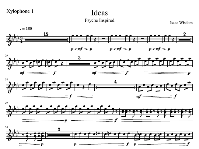 This is a screenshot of the sheet music composition entitled Ideas.