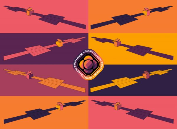 This 8 panel pop-art poster shows a stylized drawing of the Psyche spacecraft in the colors of the Psyche badge (purples, pinks, and oranges).