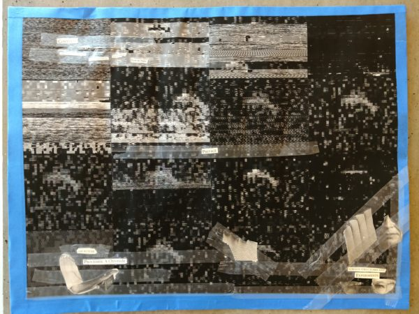 This work shows 16 black-and-white pixelated images overlaid with a poem made from words cut from newspapers.