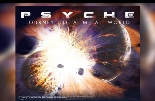 "At the top of the image it says ""Psyche - Journey to a Metal World"" and below are two planets colliding."