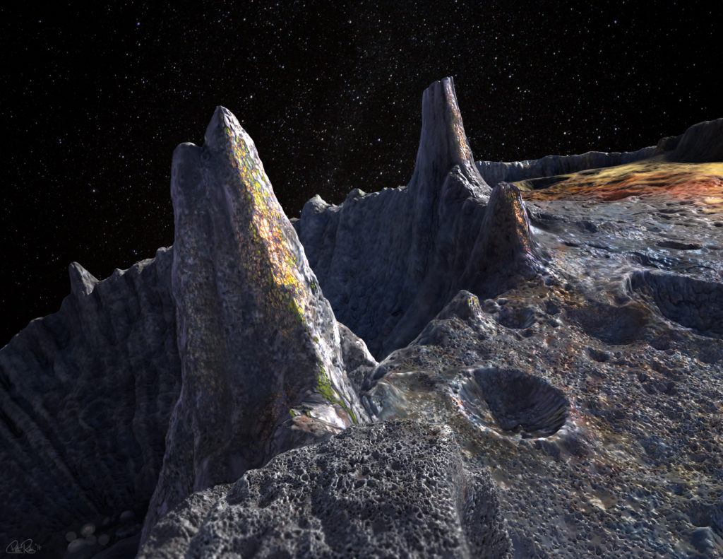 This artist's conception shows a close-up of the heavily cratered surface of the Psyche asteroid.