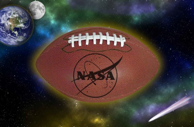 This image shows an imagined starry background with a football superimposed, along with Earth, the moon, and a comet. The football has the NASA logo on it.