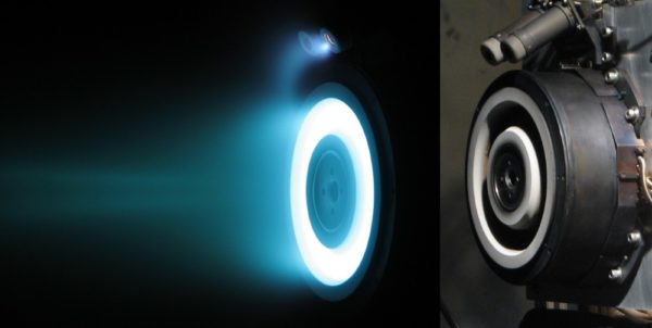 The right-hand image shows the Hall Thruster and the left-hand image shows it functioning, glowing blue.