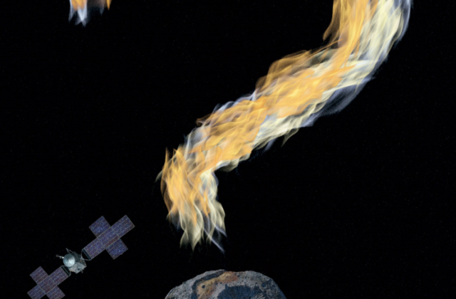 This work is in the format of a movie poster, with the title: Coming in 2022: Psyche Mission. There is a large question mark made of flames above the artist's conception of the asteroid, which forms the base of the question mark.