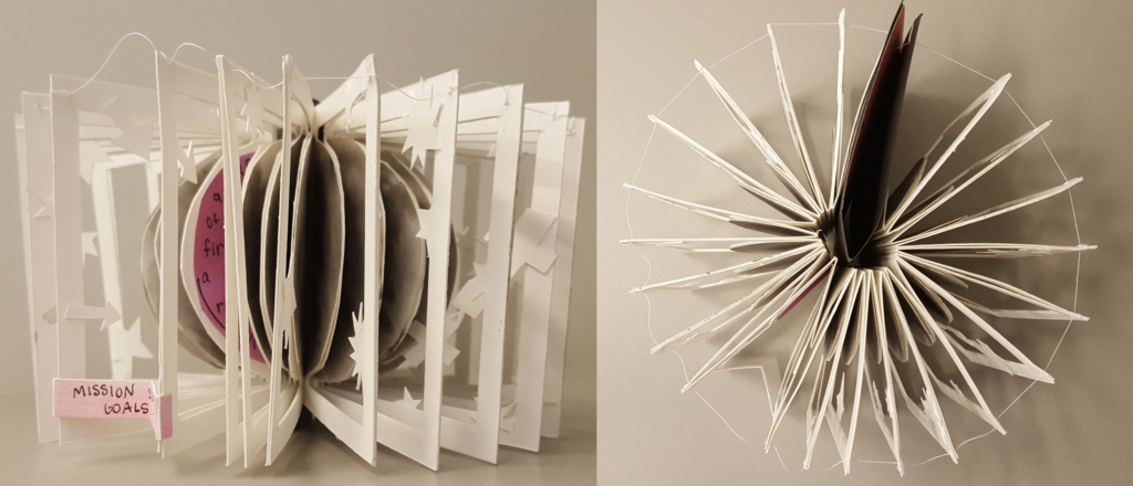 This 3D book is made with 23 separate cut-outs of the Psyche asteroid in a mottled gray, suspended in white frames that have stars, arrows, and the Psyche spacecraft on them. When the spine of the book is inverted, it makes a 3D cylinder.
