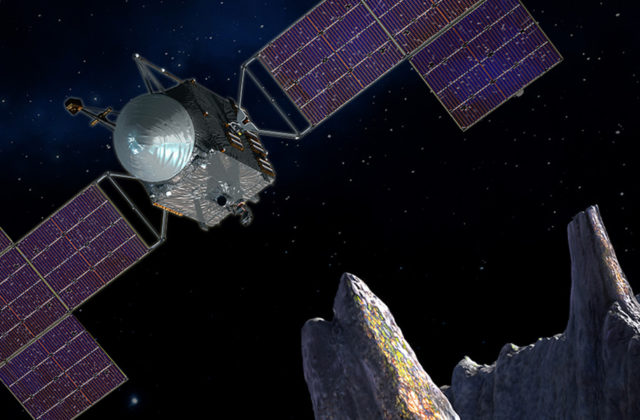 This artist's conception shows a close-up of the Psyche spacecraft against a starry background orbiting above the heavily cratered surface of the Psyche asteroid.