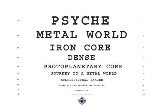 This work is in the format of an eye chart. The words are biggest on top and then get progressively smaller. The words are: Psyche, Metal World, Iron Core, Dense, Protoplanetary Core, Journey to a Metal Word, Multispectral Imager, Gamma Ray and Neutron Spectrometer, Magnetometer, and Deep Space Optical Communication.