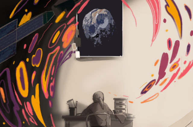 This image shows the back of a young person seated at a desk with the Psyche spacecraft and asteroid above and a swirl of colors (golds, oranges, purples, and pinks) surrounding them.