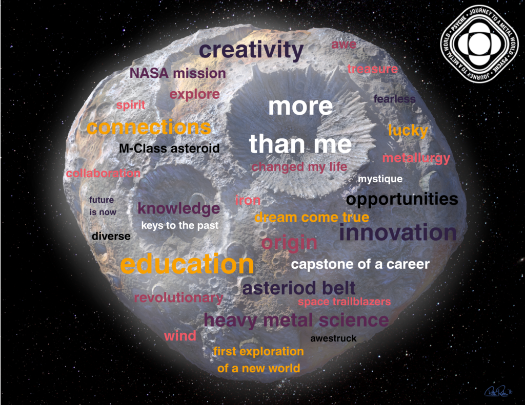 "This image shows the artist's rendition of the Psyche asteroid covered with words about the mission (such as ""creativity"" and ""mystique"")."