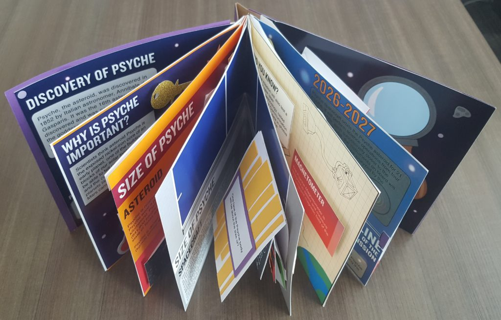 This image shows the Psyche pop-up book upright, showing all the pages.