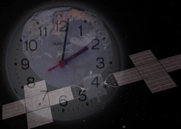 This image shows a frame of the Eye of Psyche video. In this frame, the Psyche spacecraft is approaching the Psyche asteroid, which is superimposed over a clock.