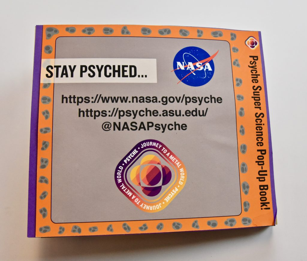 This image shows the back cover of the Psyche pop-up book.
