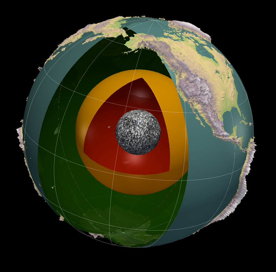 This image shows a cut-out of the Earth. In the center is a gray sphere. It is surrounded by an orange sphere. These are both encased by a larger sphere with the Earth's oceans and continents shown.
