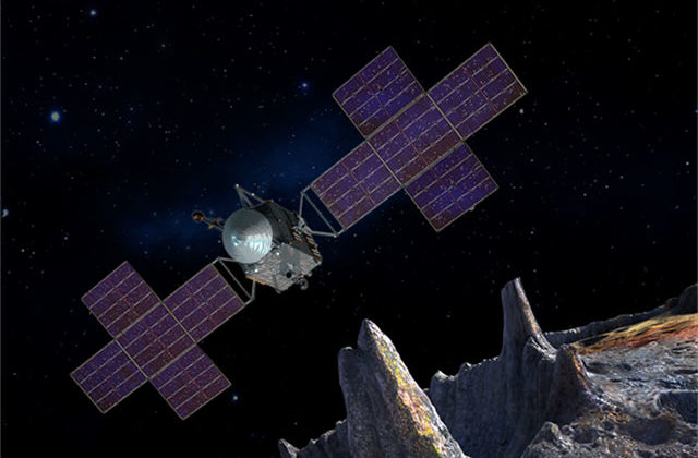 This artist's conception shows the Psyche spacecraft against a starry background orbiting above the heavily cratered surface of the Psyche asteroid.