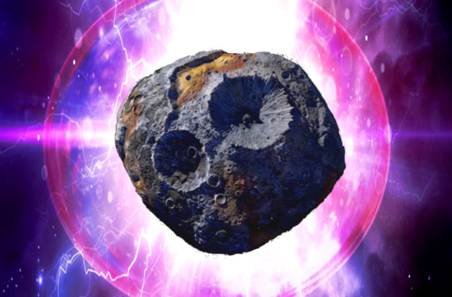 "The Psyche asteroid centered in the photo, with ""Psyche"" written above it and ""Soul of the Asteroid Belt"" written below in metallic letters. A bright light can be seen behind the asteroid itself, causing an aura to form around Psyche, which is exuding blue and-purple lightning behind it."