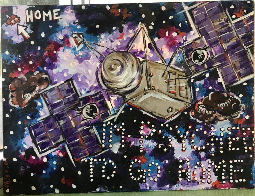 "Shows the Psyche asteroid labeled ""Home"". Spacecraft in the center. Phrase ""I'm Psyched to go home"" in stars."