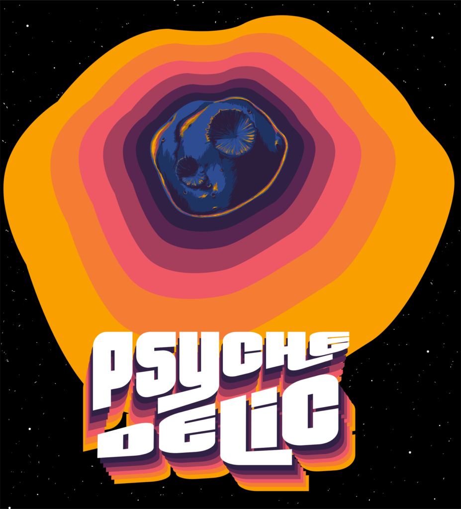 The image shows the Psyche asteroid on a black space background. Radiating from the asteroid are colorful yellow, purple, pink, orange concentric shapes. Towards the bottom, the text stylistically conforms to diagonal line slicing through it.