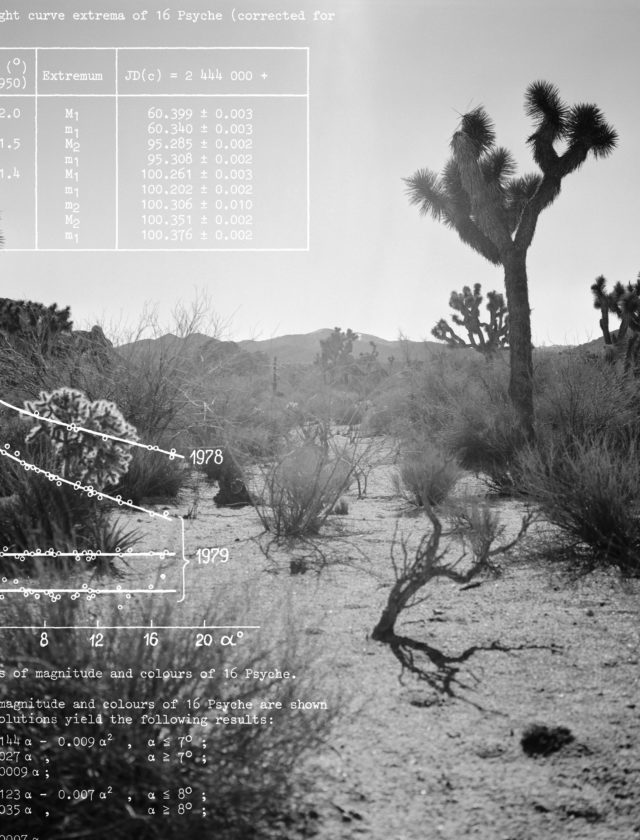 black and white photos of the dessert overlaid with scientific data in white text.