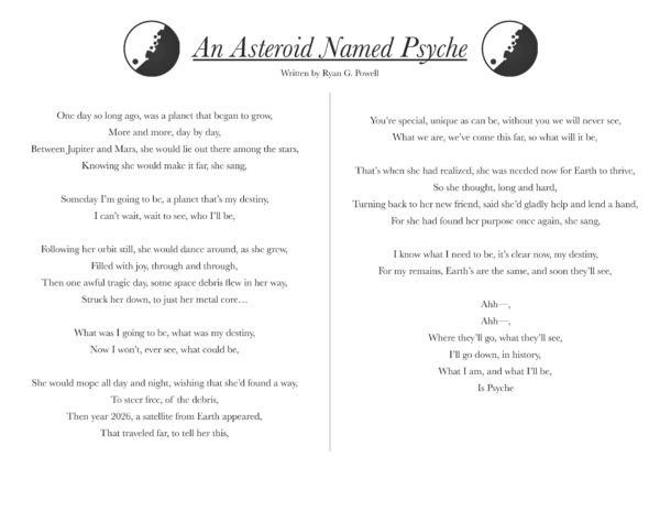 Along with the song is a lyric sheet. The lyric sheet is a one-page, horizontal sheet that contains the title
