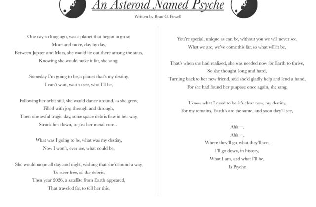 "Along with the song is a lyric sheet. The lyric sheet is a one-page, horizontal sheet that contains the title ""An Asteroid Named Psyche"" in big bold letters at the top of the page. On either side of the title are two small graphics, both the same, of a circular cartoon asteroid in black and white. Underneath the title are the full lyrics, clumped into paragraphs for each separate verse and chorus. There is also a notated lead sheet which contains the notated melody with the chords written above the staff lines and the lyrics written below."