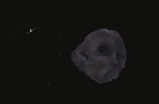 This screenshot shows a gray asteroid on a black background with the Psyche spacecraft nearing it.