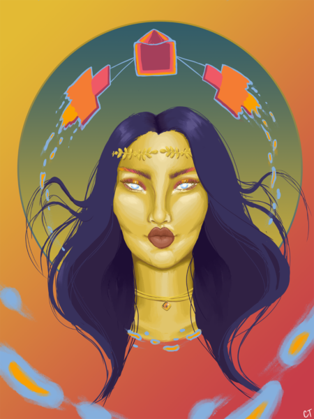 A portrait of a woman with long, dark hair is displayed, adorned by a Greek-style gold leaf headband and a gold choker with the Psyche Mission logo as the pendant. She has blue, pupil-less eyes, with ombre eyebrows and halo-style eye makeup. Floating right above her head is the Psyche Mission's spacecraft, which is surrounded by a blue glow that matches her eye color. The spacecraft appears to melt as it is floating and is meant to add a dynamic touch to the still portrait. The background is simply color gradients that I found to be an appealing addition to the portrait.