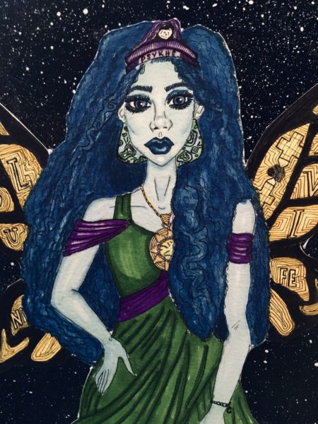The background of the painting is black with various sized small whites dots to emulate stars. In the center of the painting is a light blue woman with course curly dark blue that flows to her waist. The woman wears a black and purple crown with a white asteroid in the middle and the words Psykhe written across in black lettering identifying her as the goddess. She wears a green flowing dress with purple off-the shoulder sleeves and a purple waist cinch. Her dress is ancient Grecian styled and she wears a big gold necklace paired with green and blue earrings with curved black designs and lines. A small bracelet adorns her hand with a
