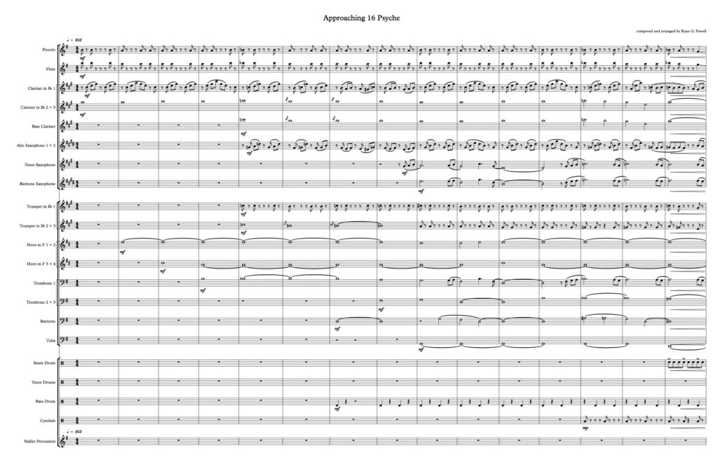 Approaching 16 Psyche music sheet.