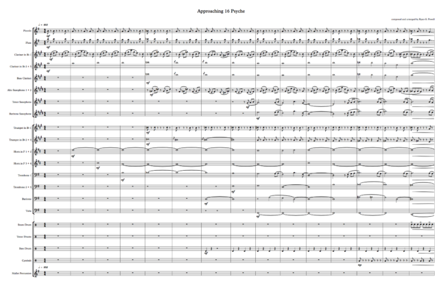 Approaching 16 Psyche music sheet.