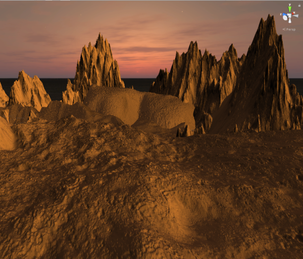 This image shows a rendered version of the surface of Mars as if you are standing on it, with craggy mountains in the distance.