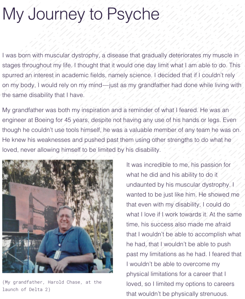 This screenshot shows part of the written blog and a photograph of the author's grandfather.