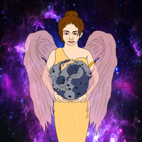 This depicts the Greek Goddess Psyche in which (16)Psyche was named after, holding the asteroid. She is wearing a yellow dress with translucent pink wings, following the color scheme for the Psyche inspired logo.