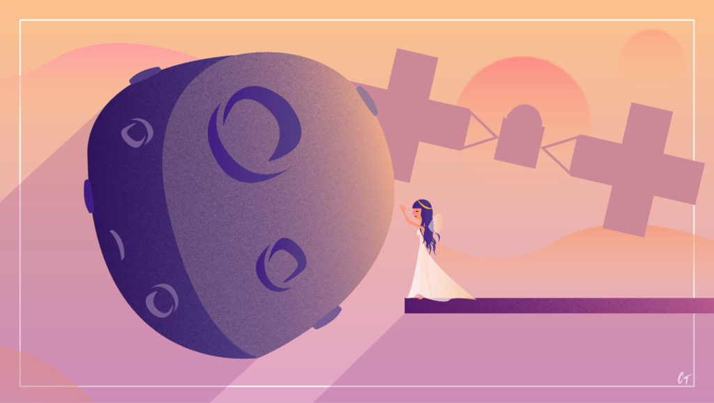 A woman in a white dress with her hand raised up to reach out is standing on a platform in outer space, about to come into contact with the big Psyche asteroid. While not to scale, it represents the fact that we humans are reaching out into outer space to investigate this asteroid. A silhouette of the Psyche spacecraft is set behind both the human and asteroid subjects, with other planet silhouettes trailing behind the asteroid to suggest that this is set in outer space.