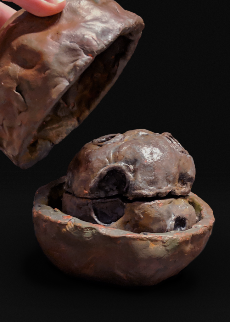 A clay psyche asteroid inside a clay psyche asteroid.