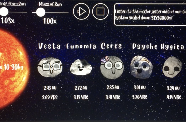 Image of Asteroid Tunes program that shows of different asteroids.