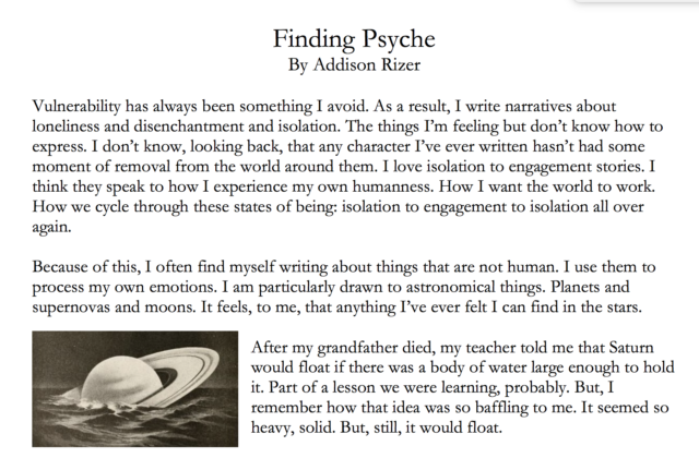 A clip of the Finding Psyche blog post