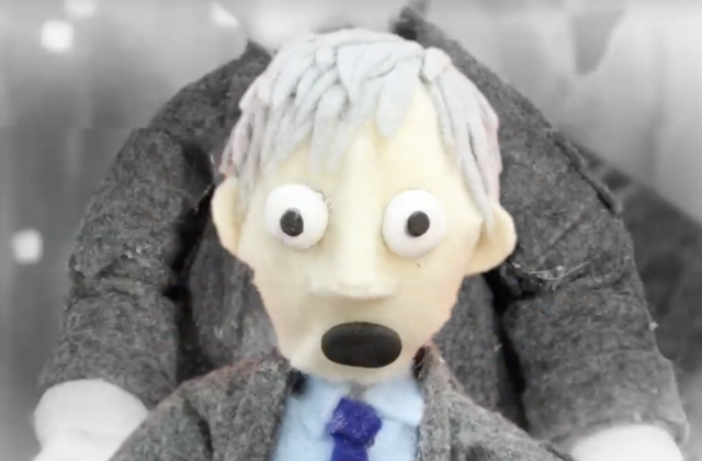 This image shows a puppet of a man that is used in this stop motion animation.