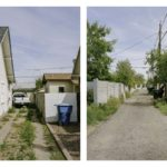 Right image is of a run down driveway with a white truck in it. Left image is of a dirt alley way.