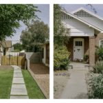 Image of the right is of a wooden fence and left image is of a brick house.