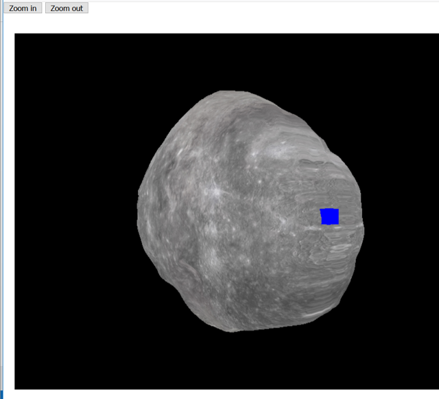 This shows a screenshot from the 3D Asteroid Viewer. It shows a black background with a lumpy grey 3D moon (Phobos) and a point of interest on the surface represented by a blue box.
