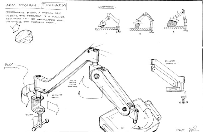 This image shows line drawings of a design for mounting a scanner on an arm to image meteorite samples.