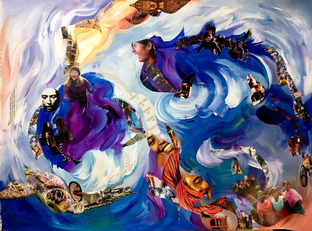 This piece is composed of a swirling blue, purple, yellow, and white background with sweeping wide brushstrokes. Interspersed throughout the artwork are cutouts of magazine pages showcasing happiness on people's and animals' faces as well as snippets of cities and machines -- human creations. The entire work mimics the surface of the Psyche asteroid, with its crevices and its streaks of gold running along the top. The collage elements are cut in wave shapes to blend in with the direction of the brushstrokes.