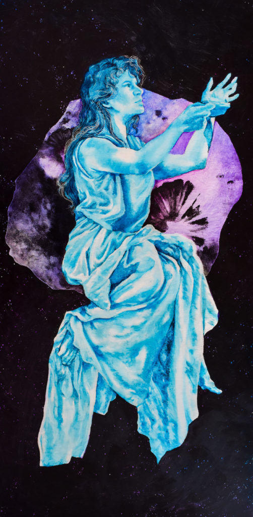 Depiction of a woman dressed in ancient Greek attire holding a lamp. She is super-imposed over a depiction of the Psyche asteroid.