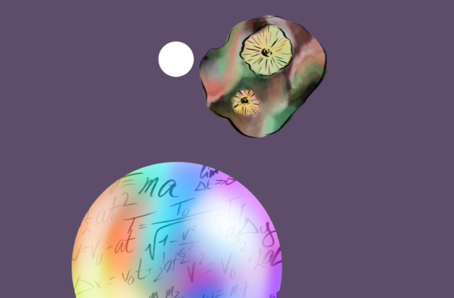 This piece depicts side-by-side copies of the same image in different colors. In each image, the Psyche spacecraft orbits the Psyche asteroid. Around the asteroid are three spheres with formulas written inside. Each image has a space circle background atop a square of matte color. The top left square is yellow, and the top right square is blue. The bottom left square is green, and the bottom right square is pink.