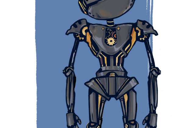 "Psyche is depicted as a robot that is androgynous, humanoid in shape, and skeletal. Its body is metallic, silvery, and accented with brassy, gold-like colors. It appears old and vaguely steampunk. Its head is cocked inquisitively to one side, and it has two large, lopsided eyes that are reminiscent of the giant craters on the asteroid. ""Psychebot"" is written above the robot, appropriately labeling the character."