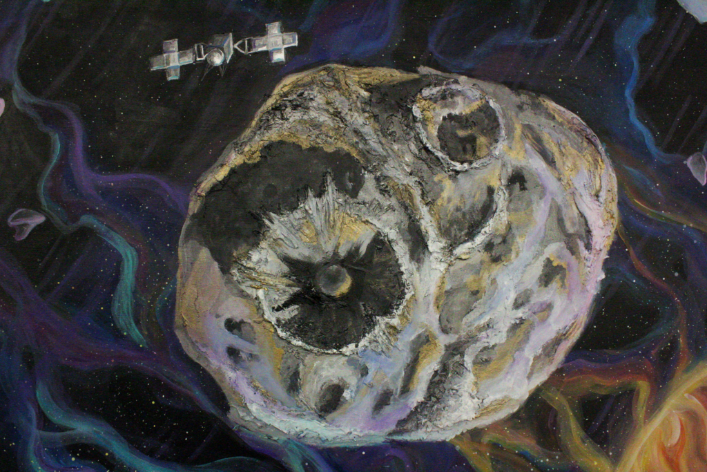 A figure sits on top of a podium looking at the Psyche asteroid through a telescope. The planetarium is showing a detailed view of Psyche with other asteroids. While Mars is in the distance, Jupiter is up close next to Psyche. Psyche has two giant craters carved out of the panel. They are reflecting the colors of the galaxy, along with metallic silver and bronze. The spacecraft is orbiting next to it.